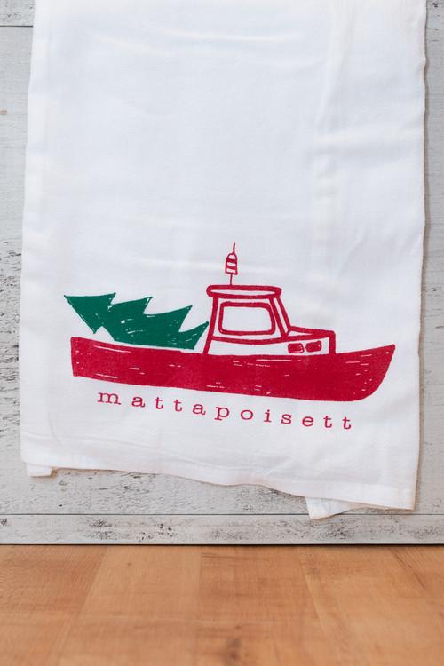 Mattapoisett Christmas Lobster Boat Tea Towel