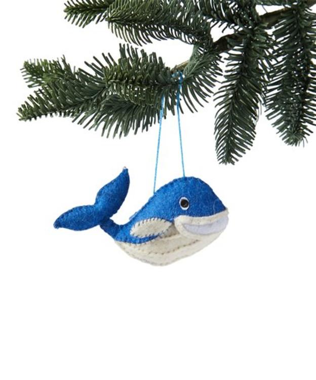 Handmade Wool Whale Ornament