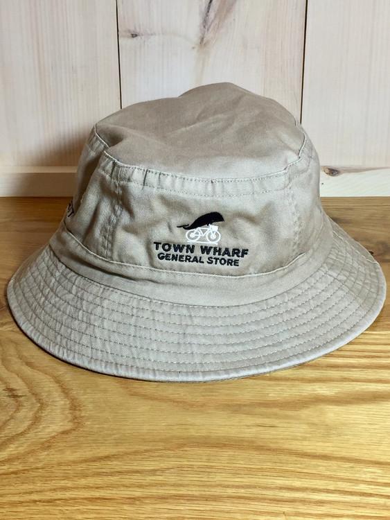 TWGS Embroidered Whale-on-the-bike Logo Bucket Hat - Khaki