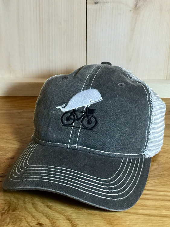 TWGS Embroidered Whale-on-the-bike Logo Baseball Hat - Mesh - Grey