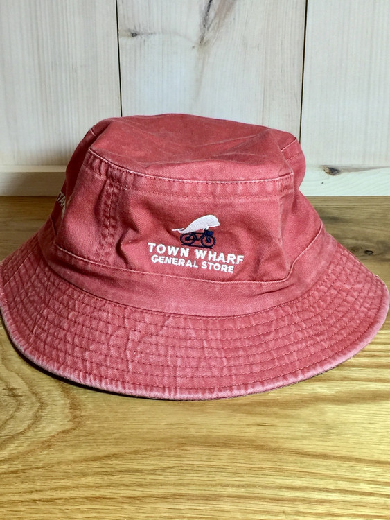 TWGS Embroidered Whale-on-the-bike Logo Bucket Hat - Nantucket Red