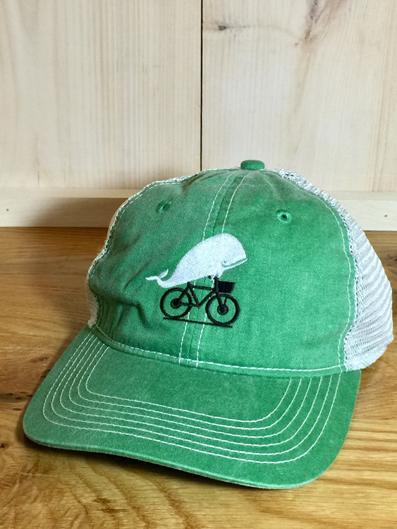 TWGS Embroidered Whale-on-the-bike Logo Baseball Hat - Mesh - Green
