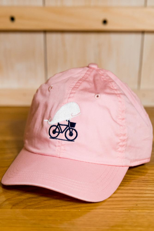 TWGS Embroidered Whale-on-the-bike Logo Baseball Hat - Pink