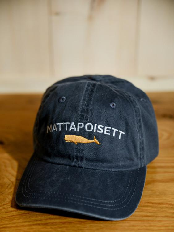Mattapoisett & Whale Logo Baseball Hat - Distressed Navy
