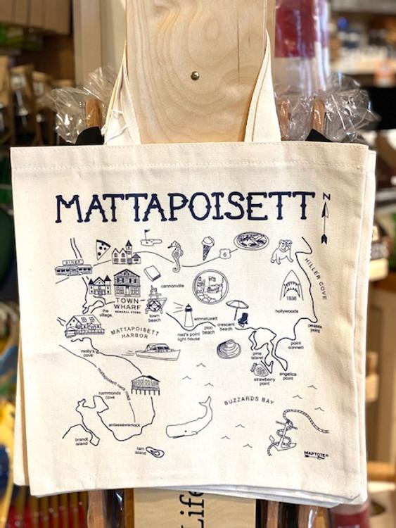 Mattapoisett Map Grocery Tote Bag