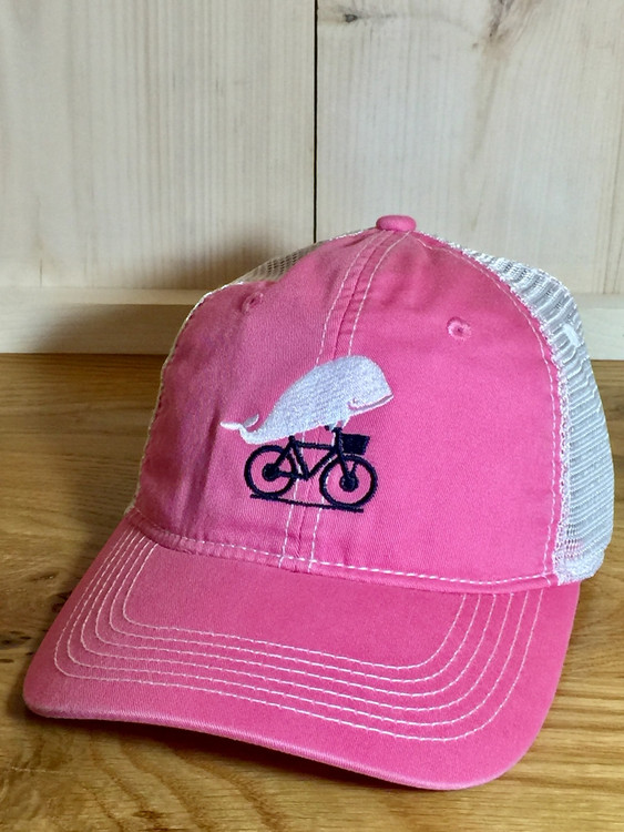 TWGS Embroidered Whale-on-the-bike Logo Baseball Hat - Mesh - Bubble Gum Pink