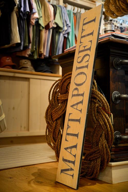 "Mattapoisett Great Room Sign - 48"" x 9"" - Soft Yellow w/ Blue Type"