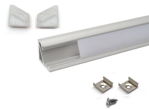 Aluminium Corner Profile 1m for LED Light Strip with Opal Cover Set