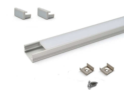 Aluminium Surface Profile 1m for LED Light Strip with Opal Cover Set