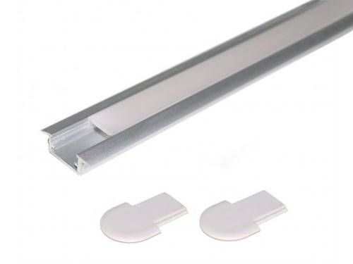 Aluminium Recessed Profile 1m for LED Light Strip with Opal Cover + End caps