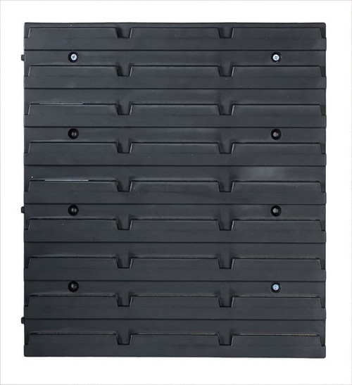 Black Plastic Wall Mounted Storage Bin Kit - Garage Workshop Shed