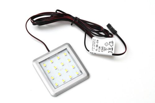 LED Light Square 1.5W 12V Surface Aluminium 55x5mm