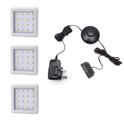 LED Light Square Under cabinet downlight 1.5W 12V White Cover 55x4mm Kit