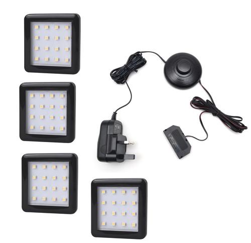 LED Light Square Under cabinet downlight 1.5W 12V Black Cover 55x4mm Kit
