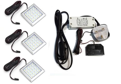 LED Light SquareXL Under cabinet downlight 2W 12V Surface Aluminium 64x9mm Kit