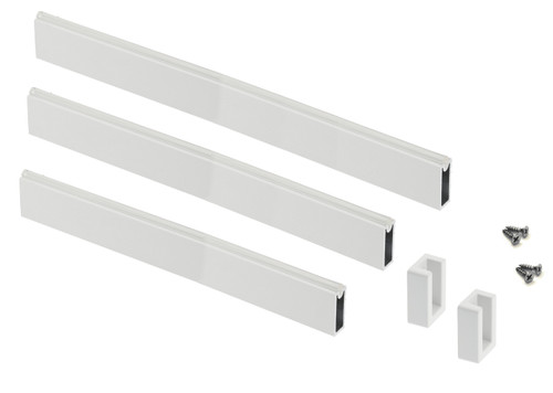 Wardrobe rail rectangle white hanging rail 33mm Set