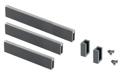 Wardrobe rail rectangle grey hanging rail 33mm Set