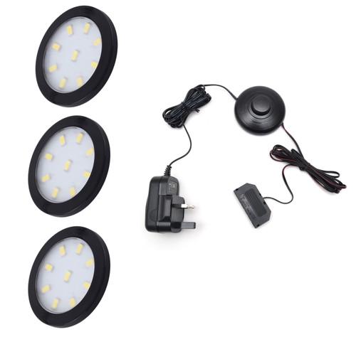 LED Light OrbitXL 3W 12V Black Cover 60x6mm Kit