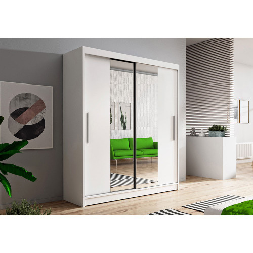 Wardrobe Sliding Doors VISTA01 150cm Quality Mirrored Hanging Rail Shelves