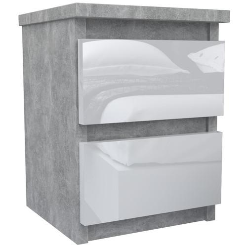Concrete Bedside Table Drawer Cabinet Bedroom Furniture 30x30x40cm
