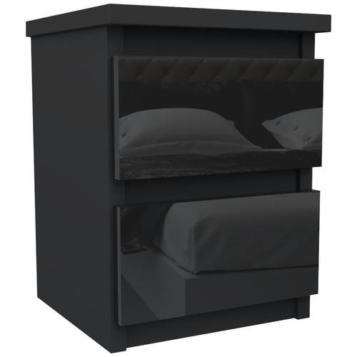 Black Bedside Table Drawer Cabinet Bedroom Furniture 30x30x40cm