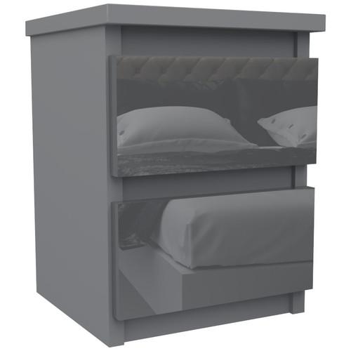 Grey Bedside Table Drawer Cabinet Bedroom Furniture 30x30x40cm