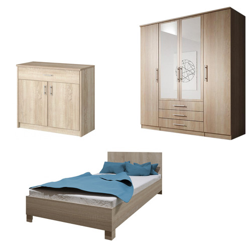 Bedroom SANTAL with Wardrobe, Bed 140cm and Chest of Drawers in Oak Sonoma
