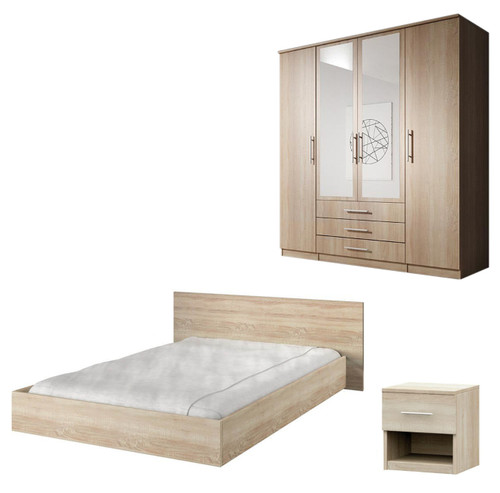 Bedroom SANTAL with Wardrobe, Bed 160cm and Bedside in Oak Sonoma