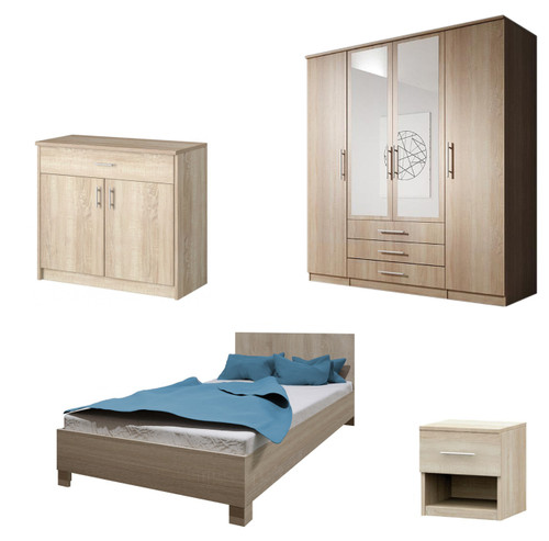 Bedroom SANTAL with Wardrobe, Bed 140cm, Chest of Drawers and Bedside in Oak Sonoma