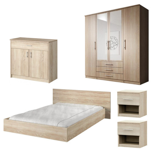 Bedroom SANTAL with Wardrobe, Bed 160cm, Chest of Drawers and 2 Bedsides in Oak Sonoma