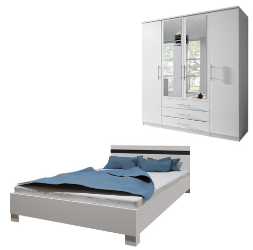Bedroom SANTAL with Wardrobe and Bed 160cm in White