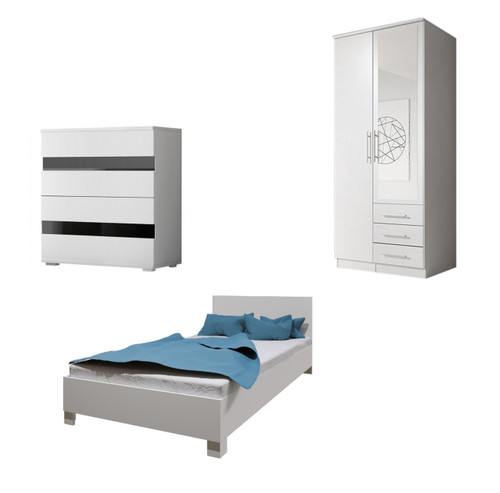 Bedroom SANTAL with Wardrobe, Bed 140cm and Chest of Drawers in White