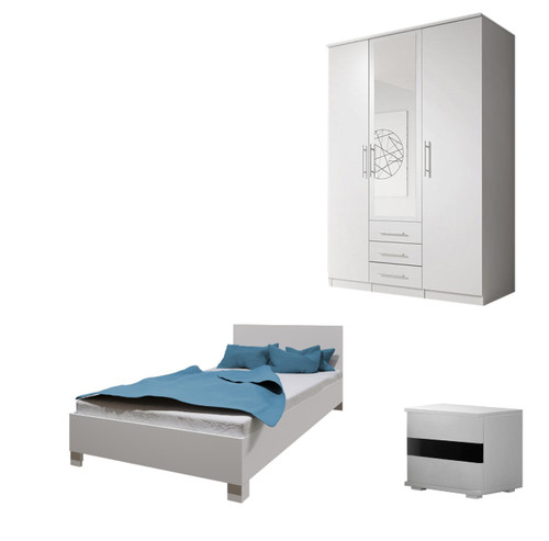 Bedroom SANTAL with Wardrobe, Bed 140cm and Bedside in White
