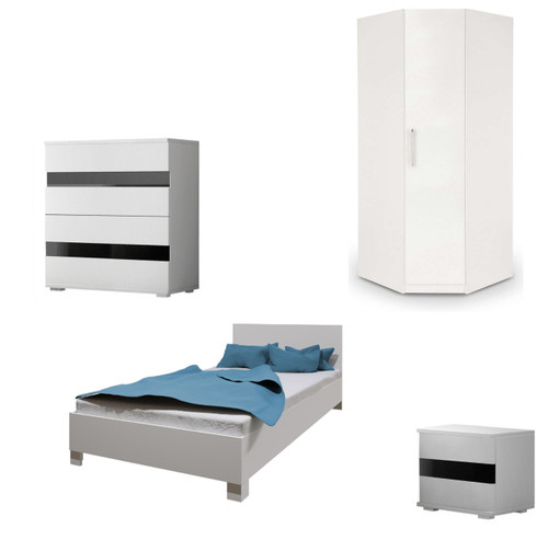 Bedroom SANTAL with Wardrobe, Bed 140cm, Chest of Drawers and Bedside in White