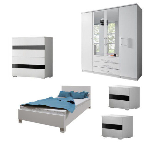 Bedroom SANTAL with Wardrobe, Bed 140cm, Chest of Drawers and 2 Bedsides in White