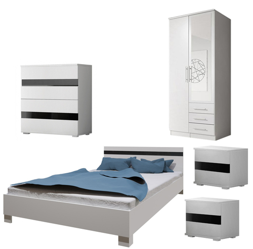 Bedroom SANTAL with Wardrobe, Bed 160cm, Chest of Drawers and 2 Bedsides in White