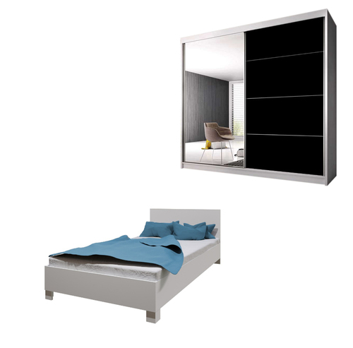 Bedroom LUCCA with Wardrobe and Bed 140cm in White