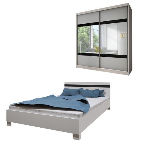 Bedroom LUCCA with Wardrobe and Bed 160cm in White