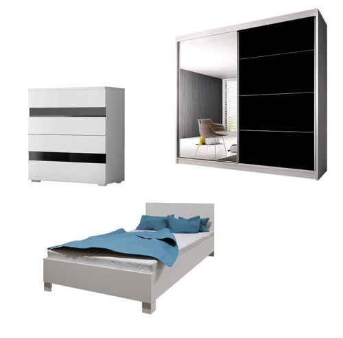 Bedroom LUCCA with Wardrobe, Bed 140cm and Chest of Drawers in White
