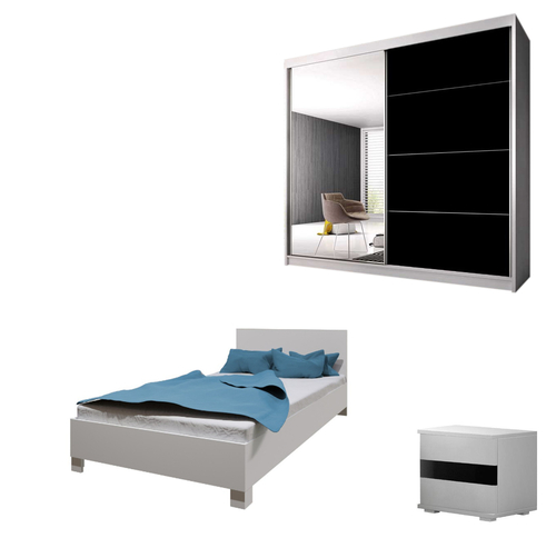 Bedroom LUCCA with Wardrobe, Bed 140cm and Bedside in White