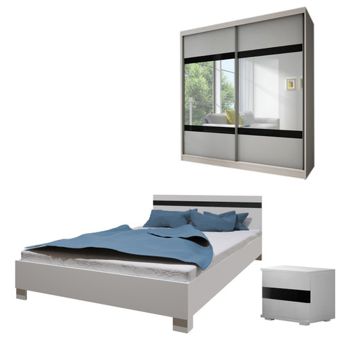 Bedroom LUCCA with Wardrobe, Bed 160cm and Bedside in White