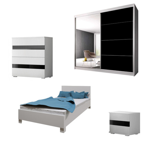 Bedroom LUCCA with Wardrobe, Bed 140cm, Chest of Drawers and Bedside in White