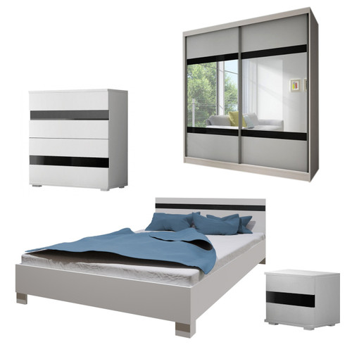 Bedroom LUCCA with Wardrobe, Bed 160cm, Chest of Drawers and Bedside in White