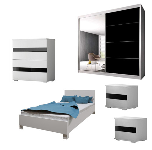 Bedroom LUCCA with Wardrobe, Bed 140cm, Chest of Drawers and 2 Bedsides in White