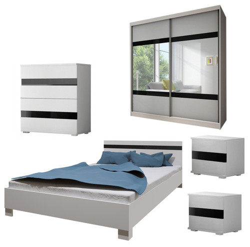 Bedroom LUCCA with Wardrobe, Bed 160cm, Chest of Drawers and 2 Bedsides in White