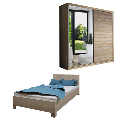 Bedroom LUCCA with Wardrobe and Bed 140cm in Oak