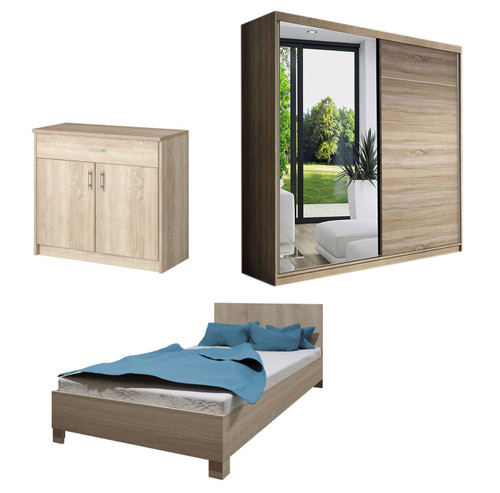 Bedroom LUCCA with Wardrobe, Bed 140cm and Chest of Drawers in Oak