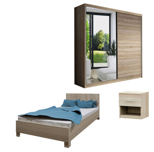 Bedroom LUCCA with Wardrobe, Bed 140cm and Bedside in Oak