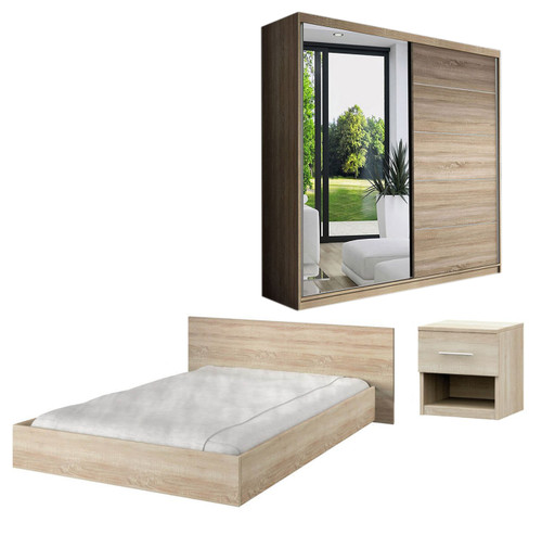 Bedroom LUCCA with Wardrobe, Bed 160cm and Bedside in Oak