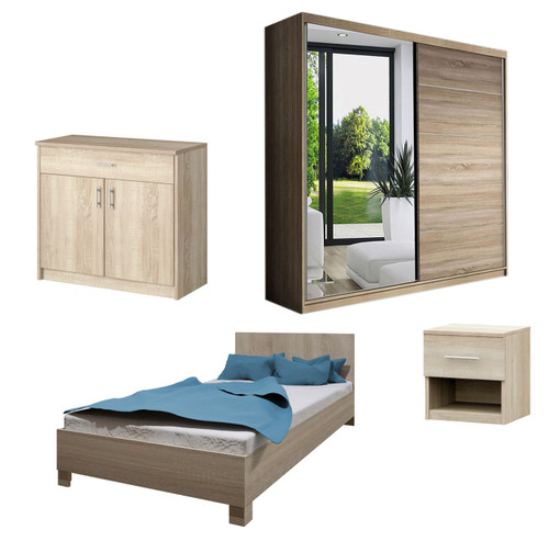 Bedroom LUCCA with Wardrobe, Bed 140cm, Chest of Drawers and Bedside in Oak